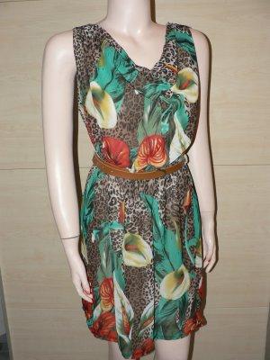 Mini Kleid Wasserfall Leo Blumen