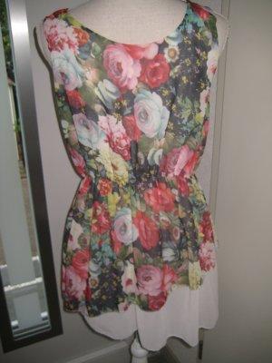 Mini Kleid Weiss Bunt Chiffon Edel Gr S/M