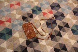 Mini-kleine Octopus Clutch Tasche, aus zartem Schlangen-Leder, Cognac Braun