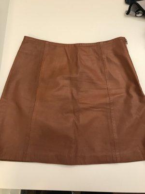 Topshop Faux Leather Skirt cognac-coloured