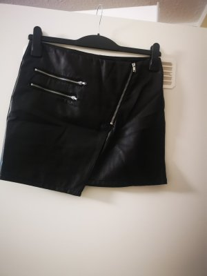 H&M Falda de cuero negro-color plata