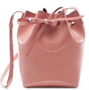 Mini Mansur Gavriel Bucket Bag Umhängetasche Beutel in Rosa Lackleder