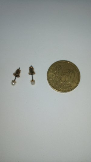 Ear stud white-gold-colored synthetic material
