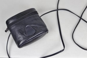 Minitasje donkerblauw Leer