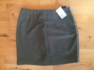 H&M Miniskirt khaki-gold-colored polyester