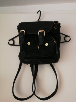 Backpack black-gold-colored