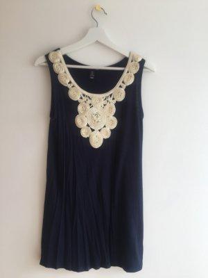 H&M Mini Dress natural white-dark blue