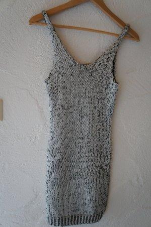 Mini Strickkleid silber schwarz H&M Größe 34