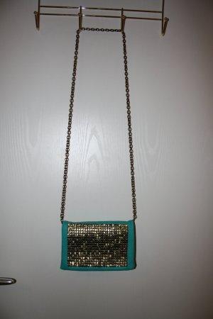 Mini Tasche/ Abendtasche türkis mit Goldplättchen