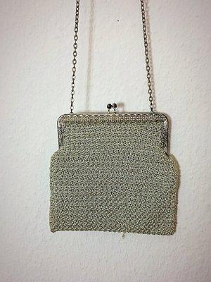Vintage Beugeltas zilver-lichtgrijs Lurex