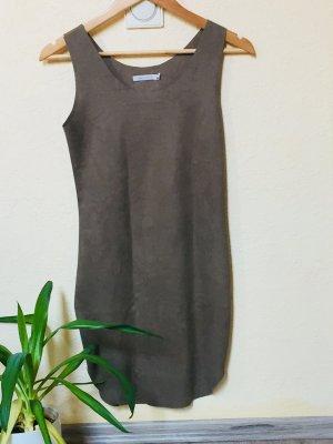Leren jurk grijs-bruin