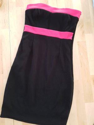 Amisu Off the shoulder jurk zwart-roze
