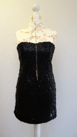 Minikleid aus Pailletten, trägerlos