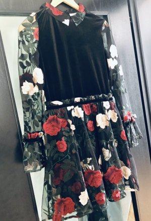 Ganni Mini-jurk zwart-donkerrood