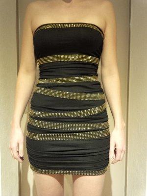 Minikleid Bandeaukleid Schlauchkleid Tubekleid gold schwarz Gr. 36