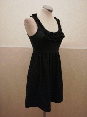 Minikleid gerüscht Winterkleid grau braun Gr. XS 34 neu Lolita kawaii Kurzgröße