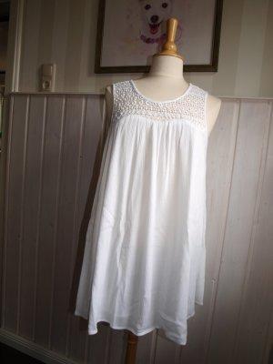 Minikleid Hängerchen Sommerkleid Tunika Babydoll weiß