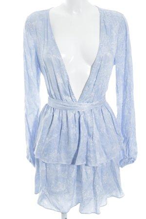 Minikleid himmelblau-weiß Blumenmuster Boho-Look