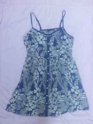 Minikleid Kleid blau weiß grau Blumen Gr. 42