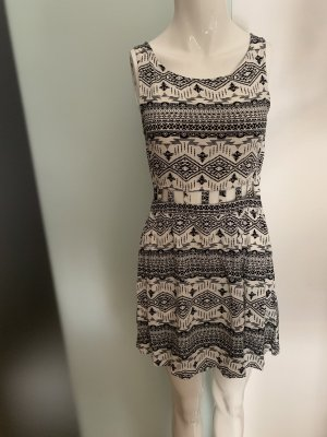 H&M Cut out jurk wit-zwart