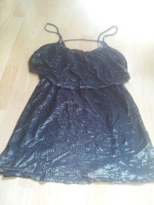 Minikleid Kleid H&M schwarz silber raffinierter Rücken Gr. L