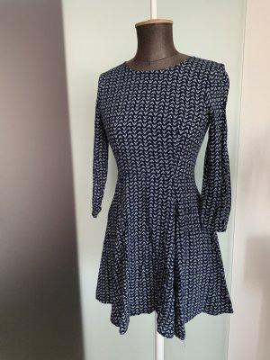 H&M Vestido corte imperio azul oscuro-blanco