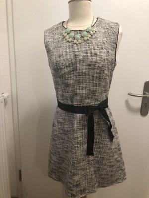 Minikleid mit Ripsbandgürtel Grau Meliert