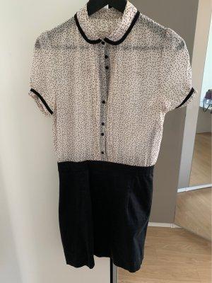 Minikleid mit schwarzem Rock und heller blusenoptik