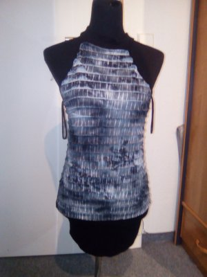 Minikleid - Neckholder - Faltenwurf - schwarz/grau - Größe S/M