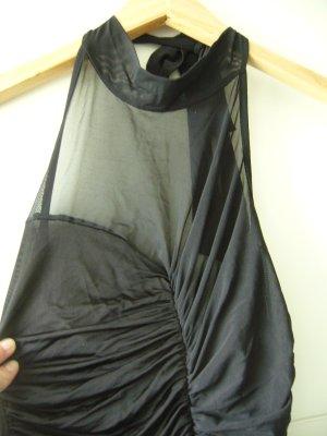 Minikleid Neckholderkleid schwarz Mesheinsatz vorne Asos XS 34