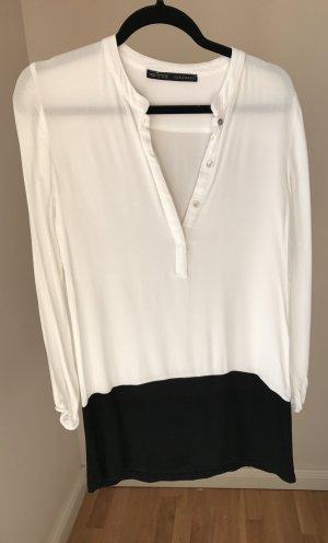 Zara Robe à manches longues blanc-noir
