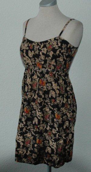 Minikleid Romantik Gr. XS 34 + Blumen schwarz neu Mini Kleid kurz