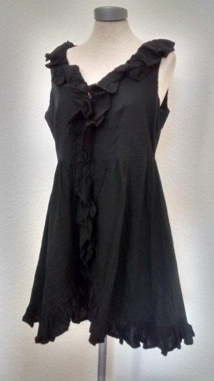 Minikleid schwarz Gr L 40 42 Baumwolle gerüscht Reißverschluss gothic Lolita neu