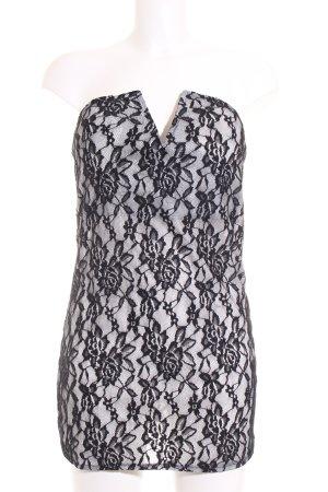 Minikleid schwarz-grau florales Muster Party-Look