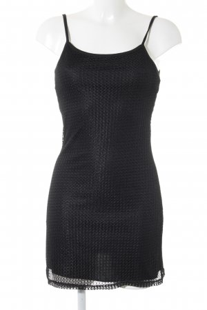 Mini Dress black loosely knitted pattern casual look