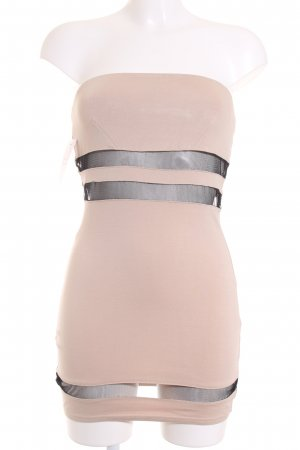 Minikleid schwarz-nude Streifenmuster Party-Look