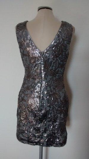 Minikleid silber Gr. 38 S M Pailletten Partykleid neu Kleid kurz mini