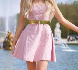 Minikleid Skaterkeid 80er Rosa mit Gürtel 36