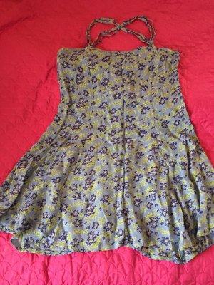 Minikleid Sommerkleid Blumen Blau bunt Kleid kurz mini, Groß 40