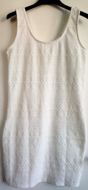 Minikleid, Stretch-Kleid, Weiß mit Struktur, Gr. M