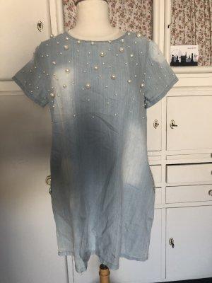 A Line Dress pale blue cotton