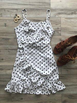 Vestido cruzado blanco-negro