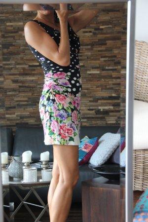 Minikleid, Wasserfallausschnitt, kleine Schwarze mit Blumenprint, Derhy