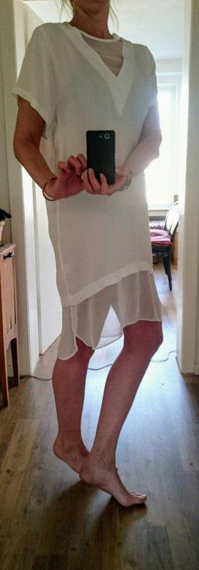 Minikleid weiß mit transparenten Einsätzen