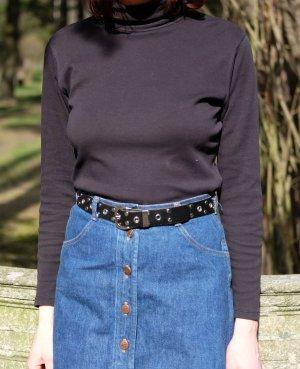 minimal turtleneck longsleeve shirt 100% baumwolle stretch schwarz S 36 38