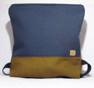 Zaino laptop blu scuro-ocra Cotone