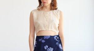 minimalistisches 100% seiden crop top shirt ärmellos cremeweiß S 36