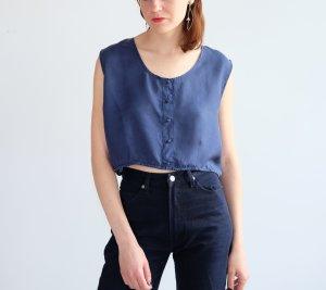 Blouse Top dark blue silk