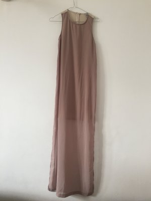 Minimalistisches Chiffonkleid nude lang S für Hochzeit Taufe elegant