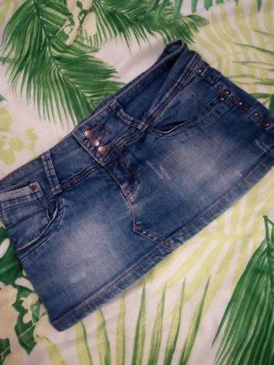 Zara Gonna di jeans blu scuro-blu acciaio Cotone